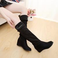 秋冬季长靴平底内增高弹力绒过膝靴透气大码女靴子保暖多穿鞋