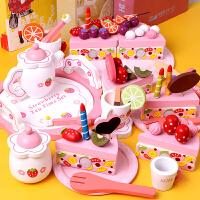 �和��^家家�N房生日蛋糕木�|玩具套�b切切�放�����幼�号�孩茶具