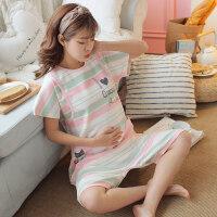 孕妇睡衣夏季薄款产后喂奶哺乳睡衣短袖夏天月子服纯棉产妇家居服