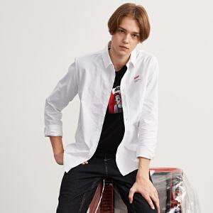 【2件3折价78.9元】唐狮春季白色衬衫男长袖青少年字母印花男士时尚白衬衣韩版潮