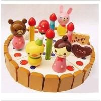 木质女孩草莓生日蛋糕玩具 儿童益智过家家玩具