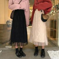 超火裙子很仙的半身裙女秋冬网纱裙港味仙女裙学生中长款A字裙
