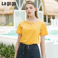 【5折价79】Lagogo/拉谷谷预售2019年夏季新款简约休闲纯色T恤女IATT333G97