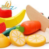木丸子木质玩具 木制蔬菜水果切切乐益智玩具过家家儿童玩具切切看套装