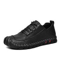 工装鞋男圆头厚底英伦风透气休闲大头皮鞋低帮夏季系带真皮马丁鞋