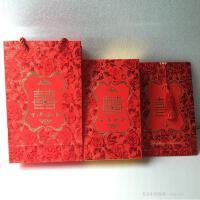 结婚礼盒喜糖盒请帖 婚庆礼品礼盒3件套装:喜糖盒+喜庆手提袋+结婚请柬请帖 中号