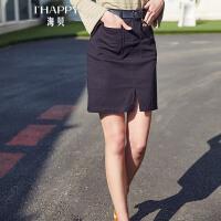 【街拍】海贝2017年秋季新款女装 简约纯色高腰修身开叉口袋A字半身裙中裙