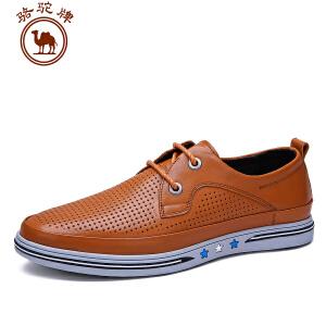 骆驼牌 夏季新款低帮系带休闲皮鞋 透气耐磨男鞋子纯色 鞋