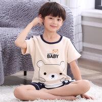 男童睡衣夏季短袖�棉�和�睡衣男孩中大童卡通薄款小孩家居服套�b