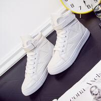 新款韩版白色高帮帆布鞋女布鞋板鞋平底运动休闲鞋魔术贴女鞋春秋