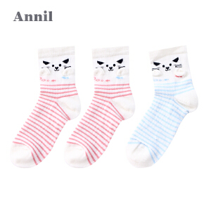 安奈儿童装女童袜子可爱提花纯棉袜子三件装EG707110
