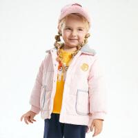 【2件3折到手价:142.45】小猪班纳童装女童棉服2020冬季新款儿童羊羔绒翻领外套宝宝棉袄厚