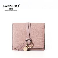 【支持礼品卡】LANVERA2018新款欧美真皮钱夹女零钱包迷你头层牛皮短款钱包 L6603
