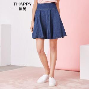 海贝夏季新款女装半身裙 时尚气质纯色褶皱高腰牛仔裙短裙