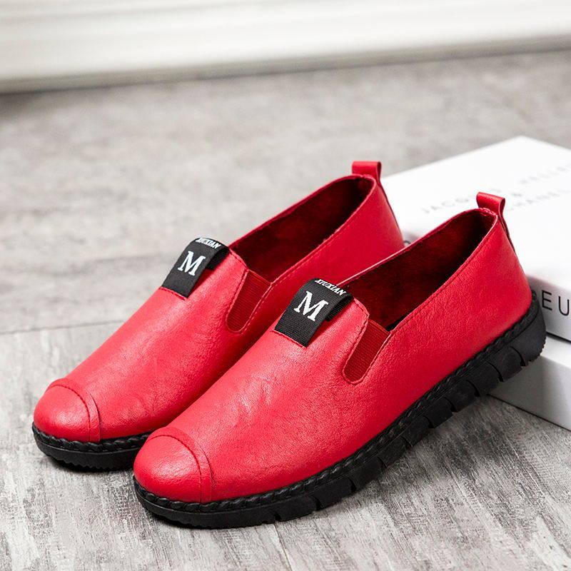 加绒加厚防水保暖防滑PU冬季皮面平底女士棉鞋 雪地靴女棉鞋 PU1917女单鞋-红色 偏小一码