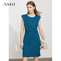 Amii极简气质法式背心连衣裙2021夏季新款半袖收腰显瘦女黑色裙子