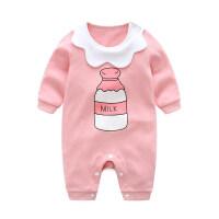 松糕婴儿纯棉连体衣宝宝短袖爬爬服新生儿衣服夏春款0-3-6-12个月