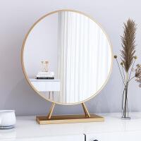 台式桌面化妆镜贴墙壁挂式梳妆台圆形镜子大号卧室北欧金色台镜子