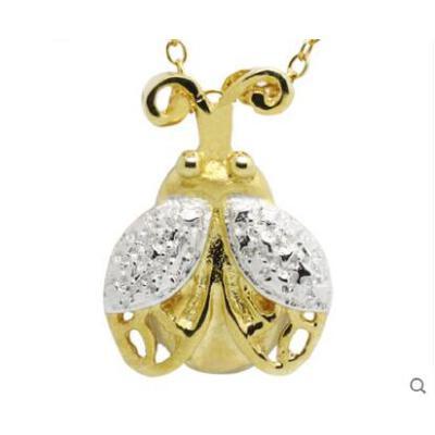可爱时尚百搭清新短款动物吊坠甲壳虫925银项链 女