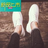 新品上市新款英伦韩版大头鞋男真皮复古马丁鞋时尚潮流圆头工装鞋低帮皮鞋 白色 666