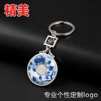 青花瓷钥匙扣 国色牡丹文化礼品中国风特色创意礼物书签定制logo