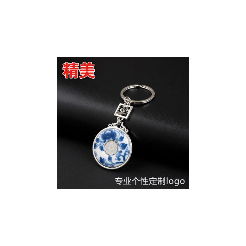 青花瓷钥匙扣 国色牡丹文化礼品中国风特色创意礼物书签定制logo 真瓷材质 款式精美 做工好 可定制