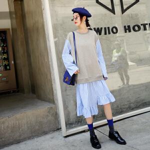 七格格长袖连衣裙秋装女新款拼接宽松条纹中长款荷叶边裙子冬