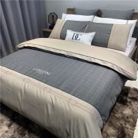 床单四件套床上用品全棉欧式丝滑冰丝被子被套六件套纯棉床笠 驼色 菲勒 2.0m(6.6英尺)床 床单款【六件套】