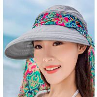 女士时尚防晒折叠凉帽遮阳帽 韩版防紫外线大沿沙滩太阳帽