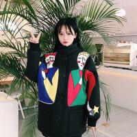 2018新款冬季女装韩版中长款卡通棉衣学院风宽松夹棉加厚外套 图片色 均码