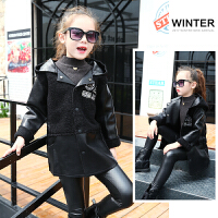 冬装女童皮衣中大童外套儿童中长款连帽皮风衣潮