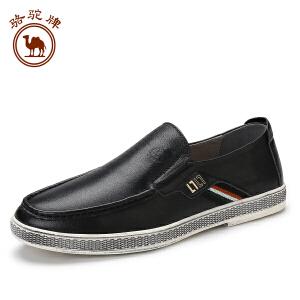 骆驼牌 新款男士 休闲皮鞋潮鞋男英伦套脚时尚舒适鞋