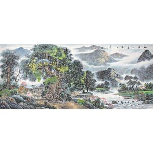 北京美术家新锐联盟一级画师 健松《水绿山青春日长》237*96CM