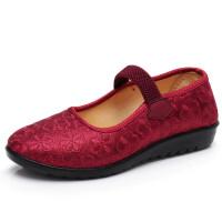 中老年女鞋夏季软底透气老太太老北京布鞋网面妈妈平底奶奶网鞋女 1715红色 布面