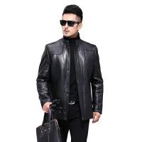 男士皮衣秋冬季2018新款韩版帅气修身羊毛内里山羊皮真皮夹克外套 黑色