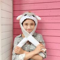 韩国卡通一捏耳朵会动帽子气囊帽可爱兔子头套抖音自拍卖萌道具女 M(56-58cm)