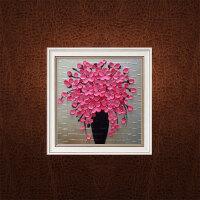 现代客厅手绘油画餐厅有框画装饰画抽象挂画三联画壁画富贵花 80*80 单幅