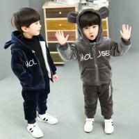 男童套装秋冬装小童洋气儿童金丝绒两件套宝宝卫衣