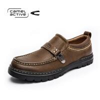 Camel Active/骆驼动感休闲男鞋潮流开车鞋男圆头套脚皮鞋缝线鞋