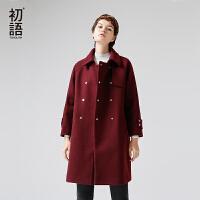 初语冬季新款oversize大衣 双排扣风琴叶纯色中长款毛呢外套女
