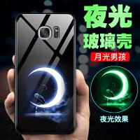 三星s6e手机壳s6e+夜光玻璃保护套曲屏女款软硅胶全包边galaxy卡通个性创意可爱男女款 三星S6Edge+ 5.
