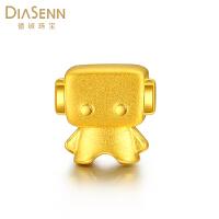 德诚珠宝 黄金转运珠 3D硬金足金吊坠可爱机器人手链转运珠 送女友