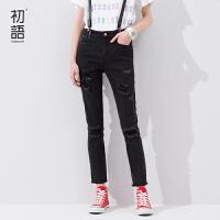 初语夏季新品  个性猫须破洞时尚修身九分牛仔裤女8621815007