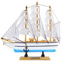 一帆风顺帆船模型摆件实木木质简约现代家装摆设客厅家居装饰大号