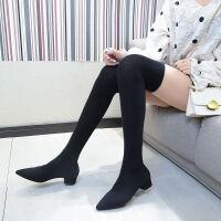 2019秋冬新款尖头粗跟高跟鞋弹力丝袜靴女过膝长靴长筒丝袜性感靴
