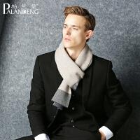 冬季纯羊毛围巾保暖围脖男士围巾男格子简约百搭