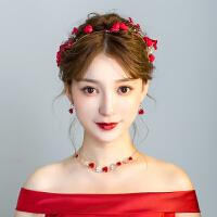 新娘大气红色发箍发饰套装项链耳饰礼服结婚饰品