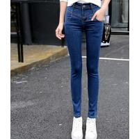新款紧身弹力牛仔裤 高腰显瘦铅笔小脚裤 修身百搭长裤