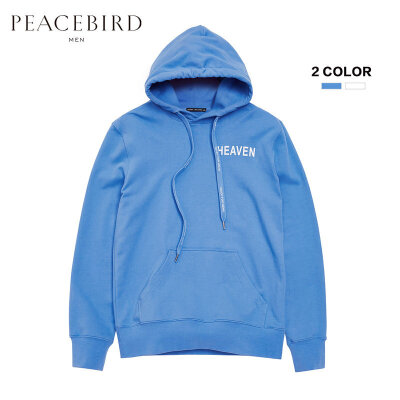 太平鸟男装 秋装新款男士外套蓝白双色字母印花修身连帽卫衣潮