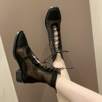 2019新款欧美高帮马丁靴女粗跟中跟靴子女夏短靴女英伦风马丁靴女